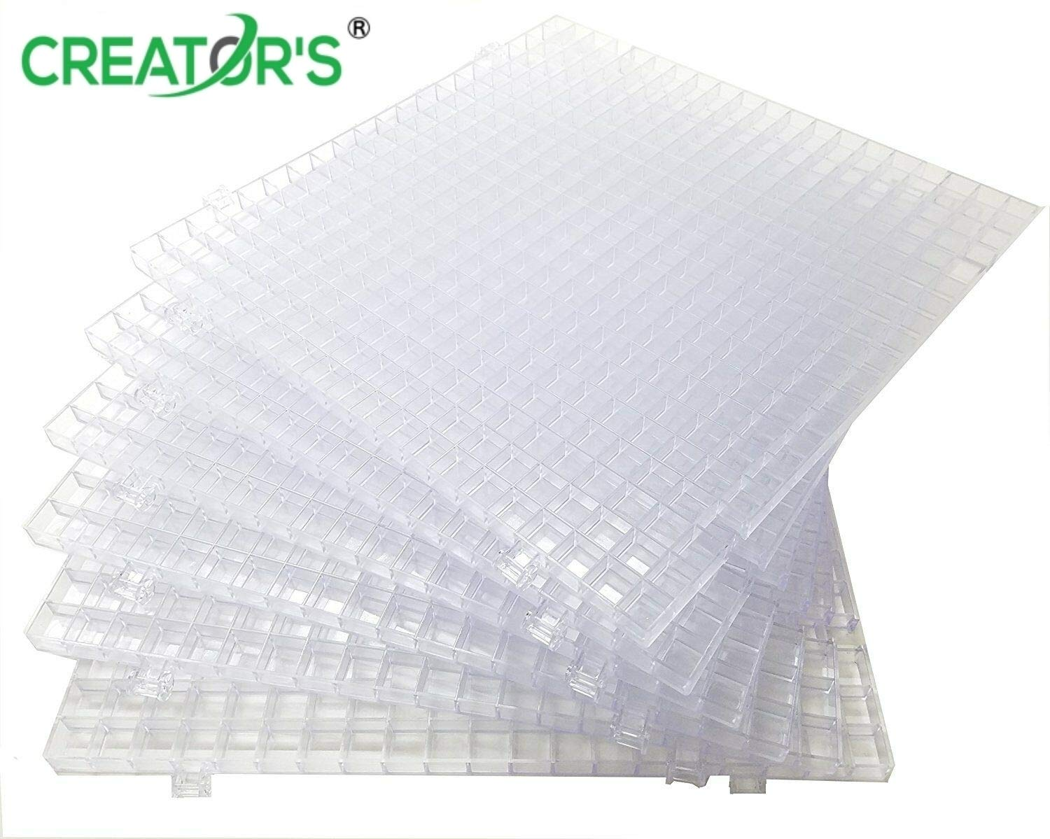 Creator's Waffle Grid 6-Pack - Solid Bottom Translucent/Clear Modular Surface - Glass Cutting, Small Parts - Liquid Containment, Grow Room - For Home, Office, Shop - Also Use With Creator's Products by Creator's