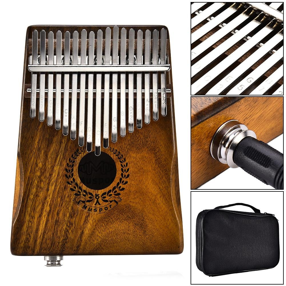 Samber Kalimba 17 Keys Thumb Piano Solid Finger Piano 17Key EQKalimbaSolidAcaciaThumbPianoLinkSpeakerElectricPickupwithBagCable with Tuning and Note Layout by Samber (Image #3)