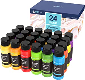 Acrylic Paint Set Non Toxic 24 Vibrant Colors Acrylic Paint No Fading Rich Pigment for Kids Adults Artists Canvas Crafts Wood Painting