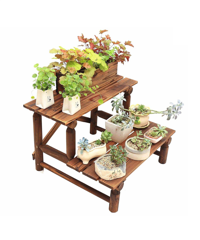 LB huajia ZHANWEI Super-breite Korrosions-Massivholz-Blumen-Rack Boden-Typ Bonsai-Rahmen Multi-Step-Blumentöpfe Terrasse (Farbe : 2-Schicht, größe : 90cm)