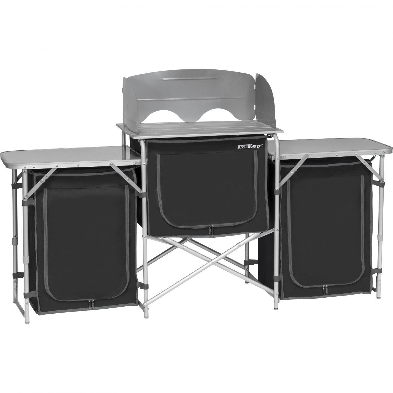 Berger Küchenbox Campingküche XL, schwarz/grau, Alu Gestell, 5 ...