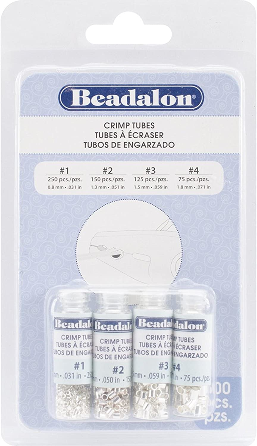 600-Piece Artistic Wire Beadalon Crimp Bead Variety Pack #0-3 Silver Plated