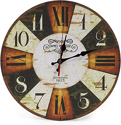 Lohas Home 30cm Silent Wooden Round Wall Clock Chic Floral Patchwork Clock Vintage Wall Clocks For Living Room Bedroom And Kitchen Multi Colour Cute Retro Style Checkerboard Amazon Co Uk Kitchen Home