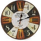 LOHAS Home 30cm Orologio da Parete, 12in Vintage Colorful Francia Parigi Stile Francese del Paese Toscano di Numeri Arabi Design Silenzioso Orologio da Parete in Legno Home Decor (Scacchiere)
