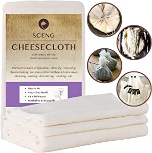 Cheesecloth, Grade 90, 72 Sq Feet, 100% Unbleached Cotton Fabric, Ultra Fine Reusable Cheesecloth for Cooking, Straining (Grade 90-8Yards)