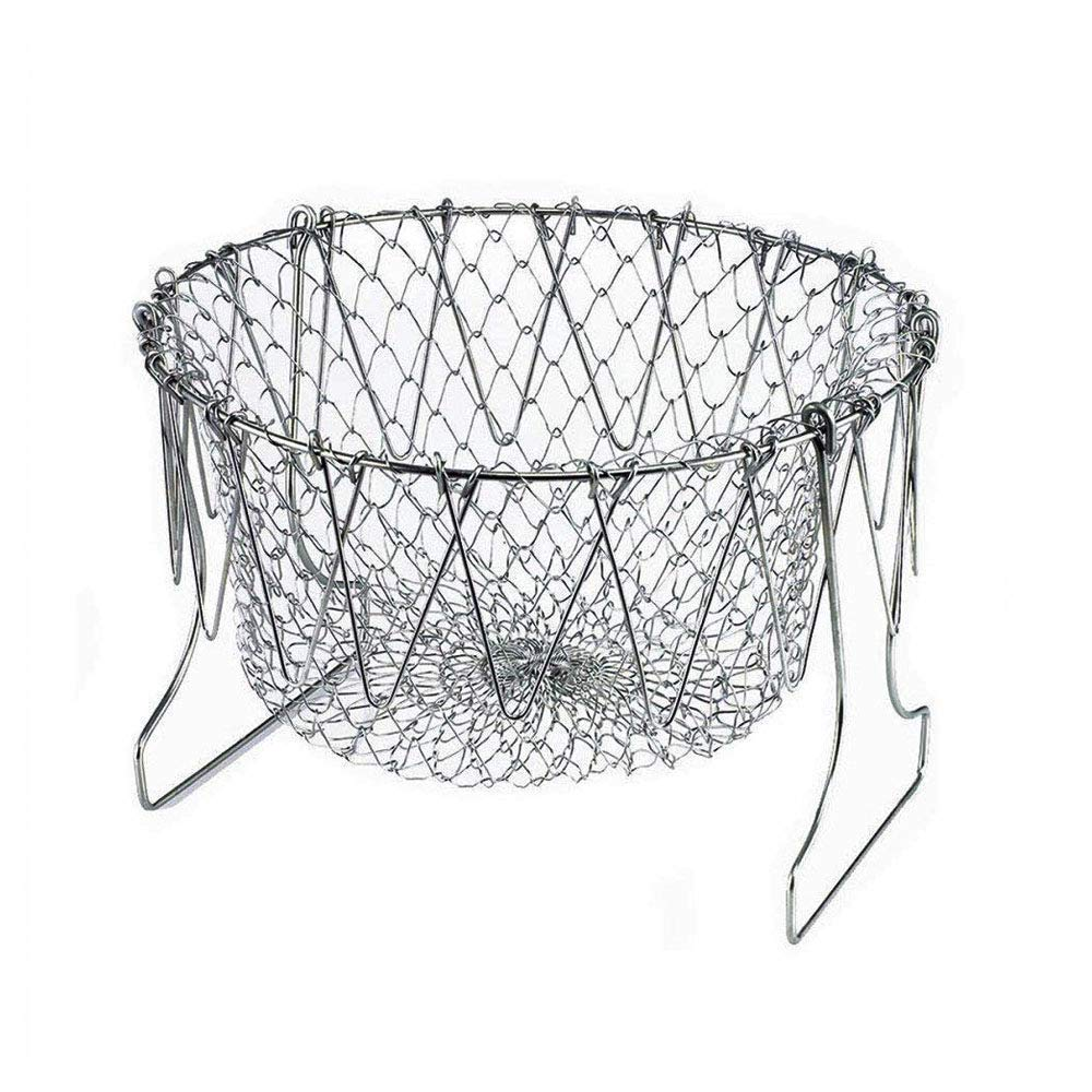 Chef Basket, Yummy Sam Stainless Steel Foldable Steam Rinse Strain Fry Basket Strainer Net Kitchen Cooking Tool for Fried Food or Fruits Eshop99 KAZH008249
