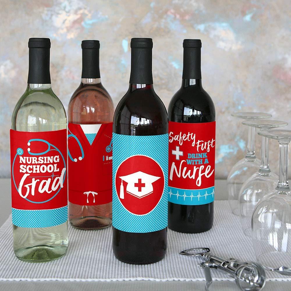 Medical Nursing Graduation Party Decorations for Women and Men Nurse Graduation Wine Bottle Label Stickers Set of 4