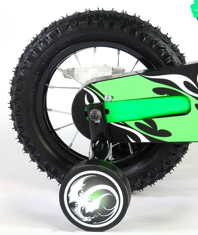 .Volare V/élo Enfants Gar/çon 12 Pouces Motobike Freins sur Le Guidon Roues de Stabilisation Vert Assembl/é /à 85/%
