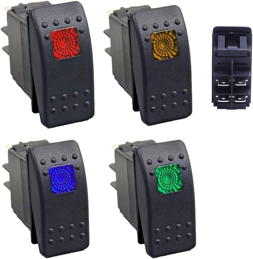 Qiorange 12v Wasserdicht Auto Kfz Schalter Wippschalter Ein Ausschalter Led Beleuchtet 1 Rot 1 Gelb 1 Grün 1 Blau Set A Auto