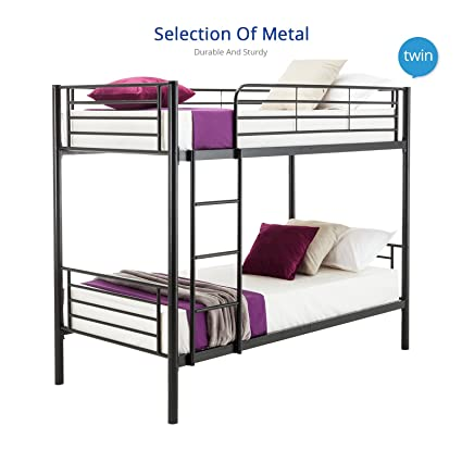 Amazon.com: mecor Twin over Twin Metal Bunk Beds Frame with Ladder ...