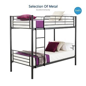 dfm twin over twin metal bunk beds frame ladder kids adult children bedroom dorm black - Metal Bunk Bed Frames