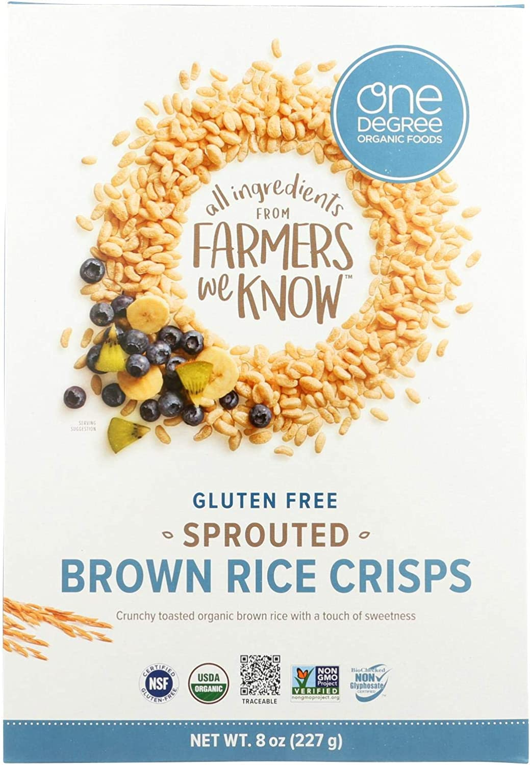 One Degree Organic Foods Sprouted Brown Rice - Crisps Cereal - Case of 6 - 8 oz.