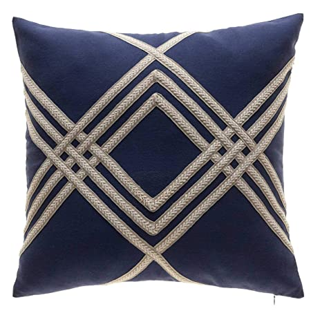 TINA S HOME Nautical Woven Braided Decorative Throw Pillows with Down Alternative Filling Solid Linen Blend Accent Pillow with Beige Stripes 20×20 inches, Navy and Beige
