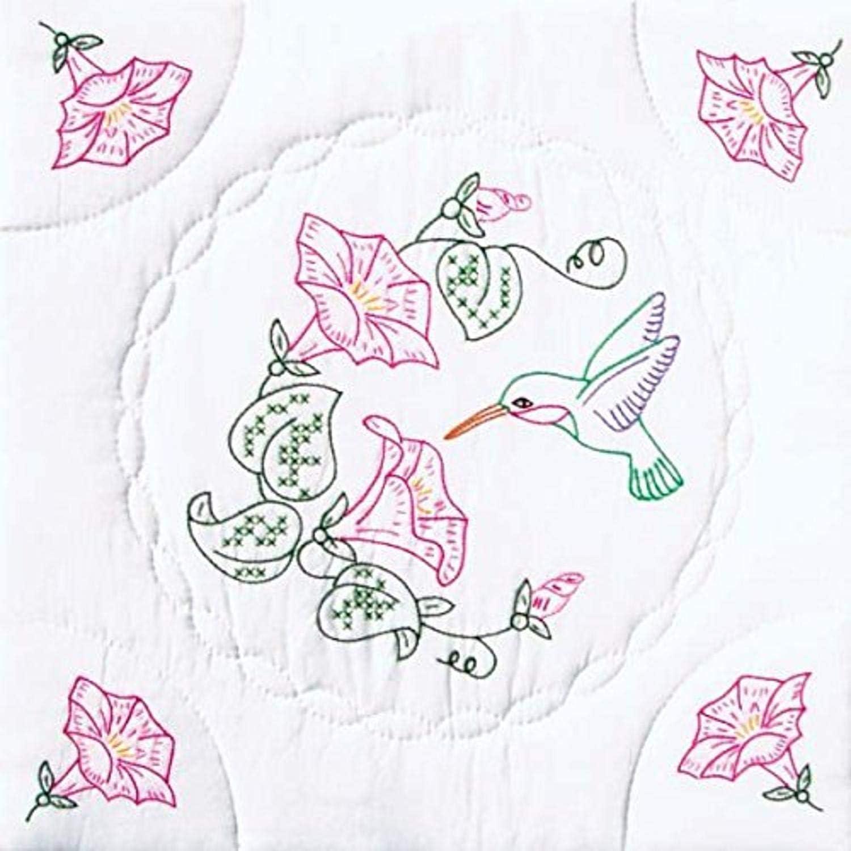 Jack Dempsey Needle Art 732293 Interlocking Hummingbird Quilt Blocks, 6 Quilt Blocks, 18-Inch-by-18-Inch, White