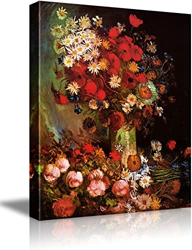 wall26 – Poppy Flowers by Vincent Van Gogh – Oil Painting Reproduction on Canvas Prints Wall Art, Ready to Hang – 16 x 20