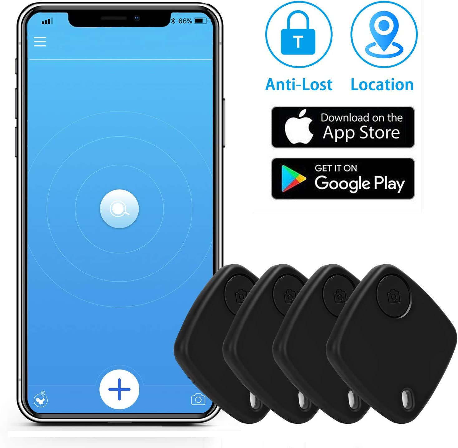 Key Finder Bluetooth Tracker with App for Phones - Key Finder Locator for Bag Luggage Keychain Purse - Anything Item Tracker Wallet Tracker (4 Pcs)