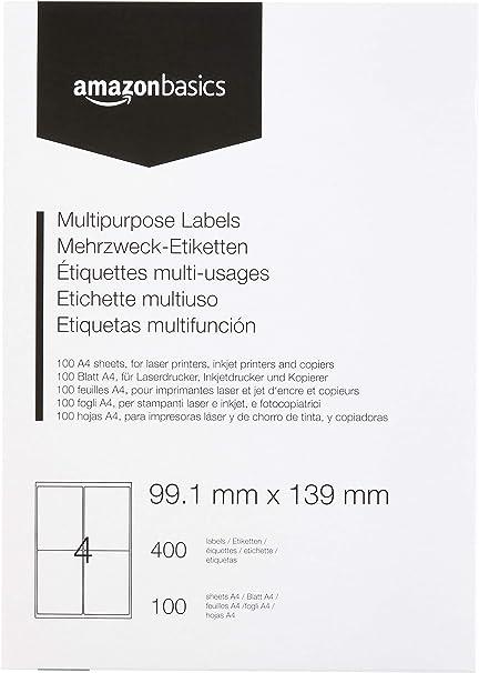 100 feuilles étiquettes LASER adresse à jet d/'encre 4 jusqu/' à 99 x 139mm