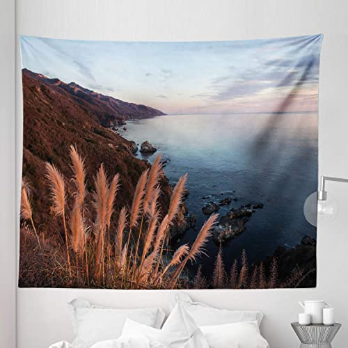 Ambesonne Big Sur Tapestry King Size, Aerial Photo with Pampas Grass on Coast Mountains Tranquil Ocean and Sky at Sunset, Wall Hanging Bedspread Bed Cover Wall Decor, 104 X 88 , Multicolor