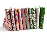 """RayLineDo 10 Pcs Different Pattern Multi Color 100% Cotton Poplin Fabric Fat Quarter Bundle 18"""" x 22"""" Patchwork Quilting Fabric Pink and Green Series"""