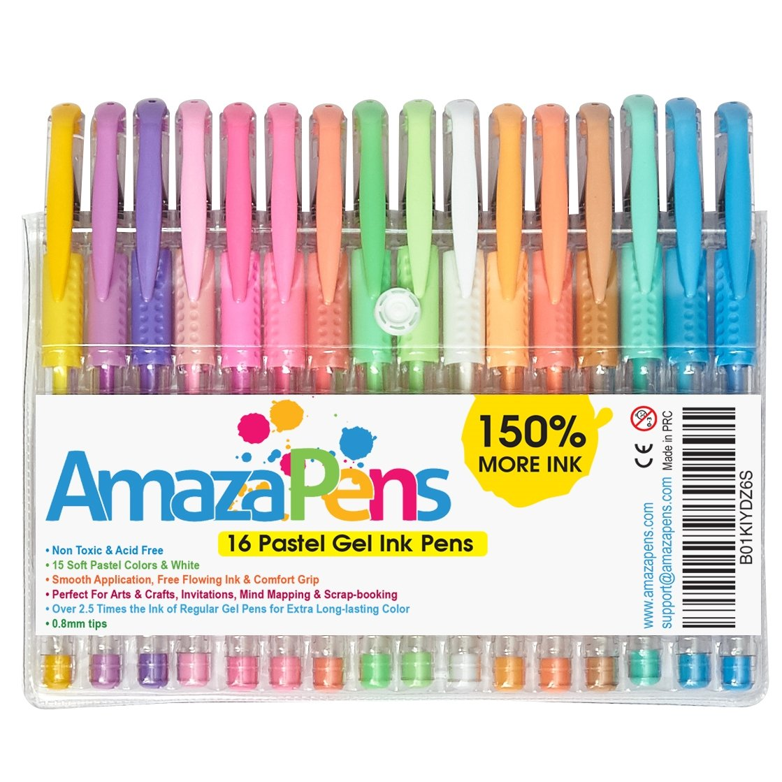 Amazon AmazaPens Coloring Gel Pens For Adult Books 16 Pastel Colors 150 More Ink Arts Crafts Writing Best Value Professional Quality