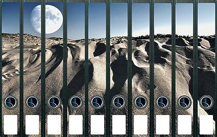 Lomo de archivadores Pegatinas desierto Paisaje con luna llena en Cielo Azul – Tamaño 38 x