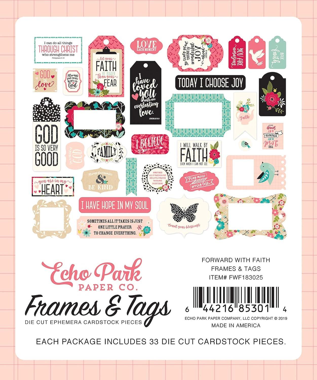 Echo Park Cardstock Ephemera 33//Pkg-Frames /& Tags Forward With Faith