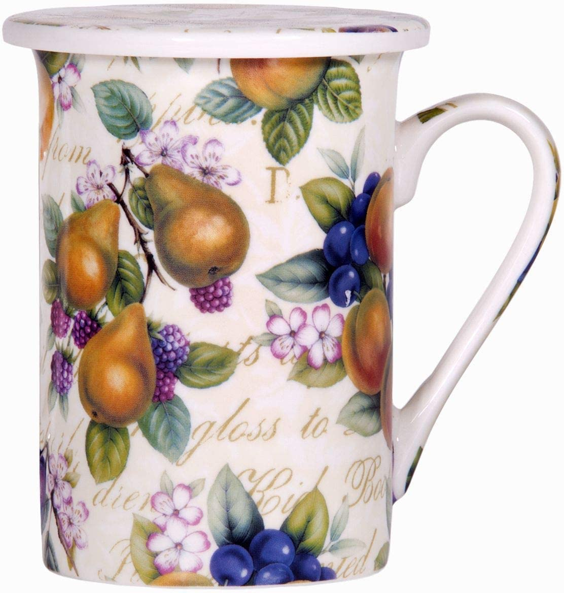 Home Essentials Kent Potteries Tea Cup Mug & Coaster Calco Fruit 2 pc 10 oz,