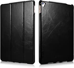 iPad Pro Leather Case, Icarercase Vintage Genuine Leather Side Open Flip Folio Style Smart Cover in Ultra Slim Design with Stand & Auto Wake/Sleep Functions for 9.7-inch iPad Pro (Black)