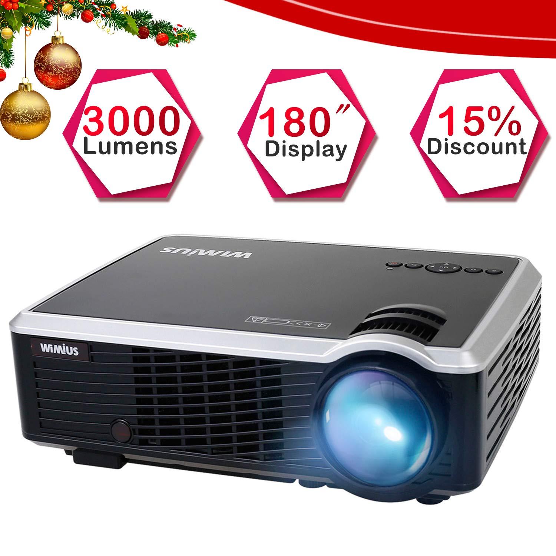 WiMiUS T7 Proiettore, Videoproiettore 3000 Lumens Portatile Supporto Full HD 1080P Video Proiettore LCD con 180' Display LED 50000 Ore per Home Cinema con Cable HDMI