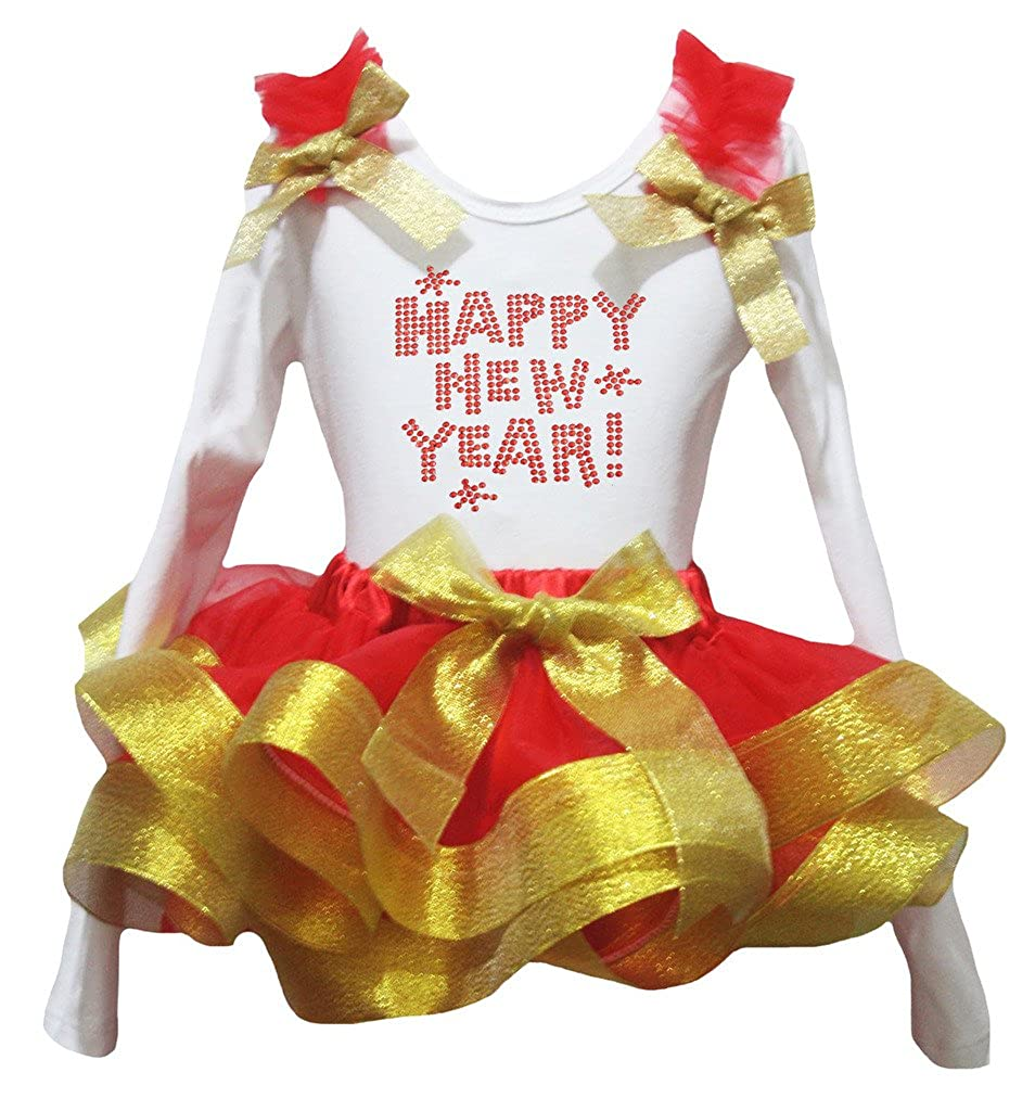 Petitebella Happy New Year White L//s Shirt Red Gold Petal Skirt Outfit Nb-8y