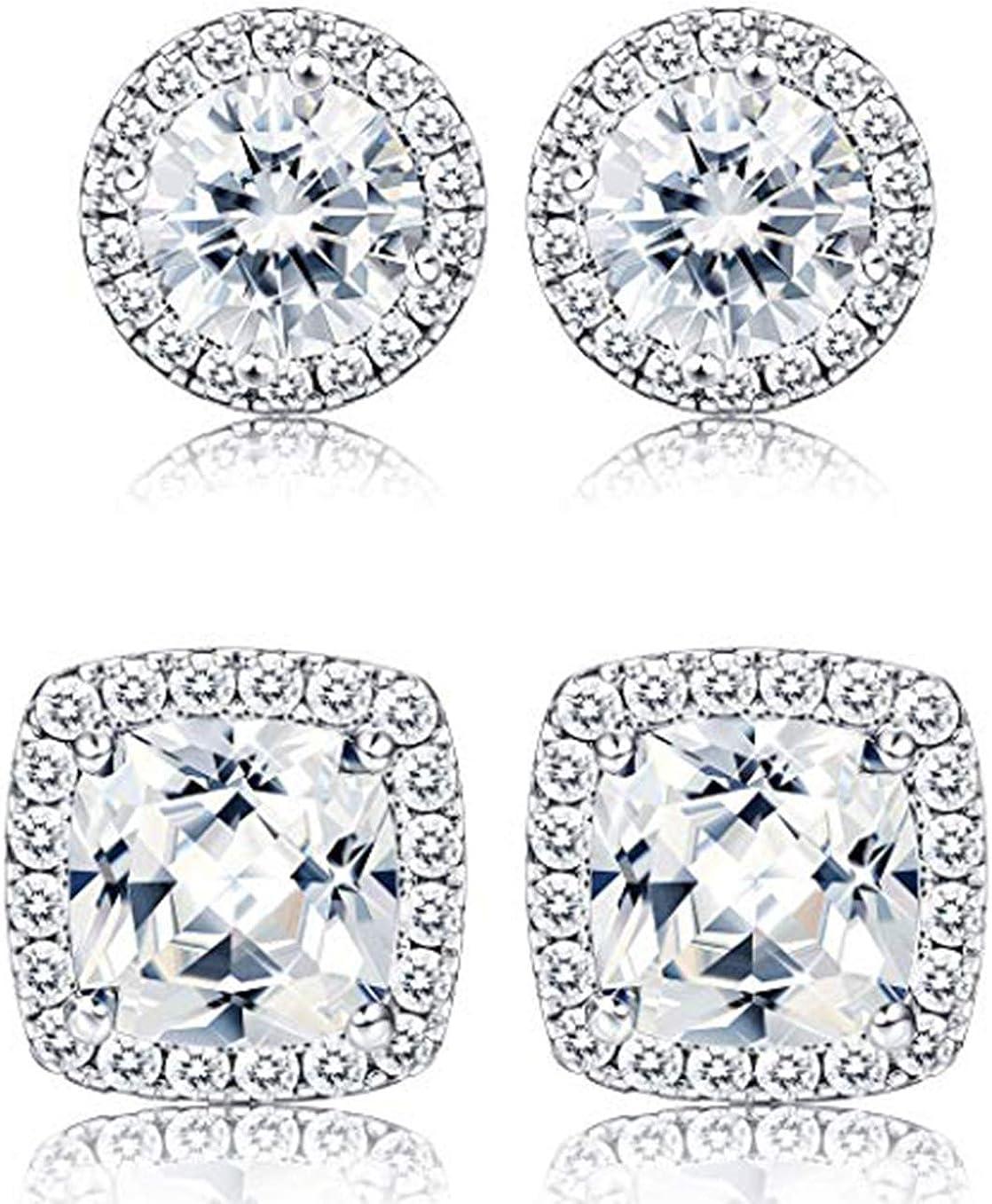 Milacolato 1-2 Pares de pendientes de halo Halo 18K Oro blanco plateado Ronda de diamantes Pendientes de corte brillante con caja de regalo