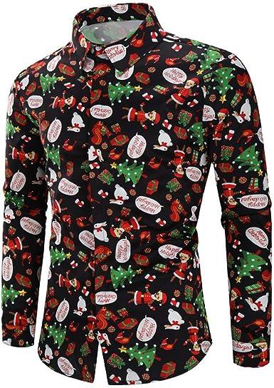 Hombre Camisas Navidad, Manga Larga Casual Unisex Pareja Navidad Impresión Otoño Invierno Nuevo Camisa de Moda Slim Fit Long Sleeve Blusa Tops Camiseta Botón Shirt Diseño de Personalidad vpass: Amazon.es: Ropa y