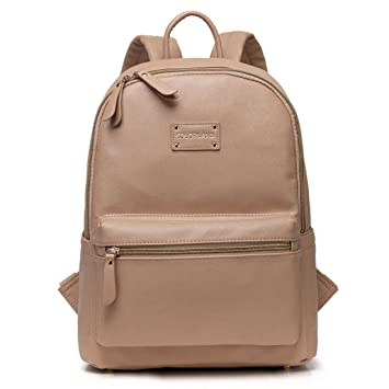 2dc08a2568f26 Amazon.com   Fumee Multi-functional Faux Leather Diaper Bag   Fashion  Travel Padded Backpack   Adjustable Shoulder Bag with Changing Pad (Khaki)    Baby