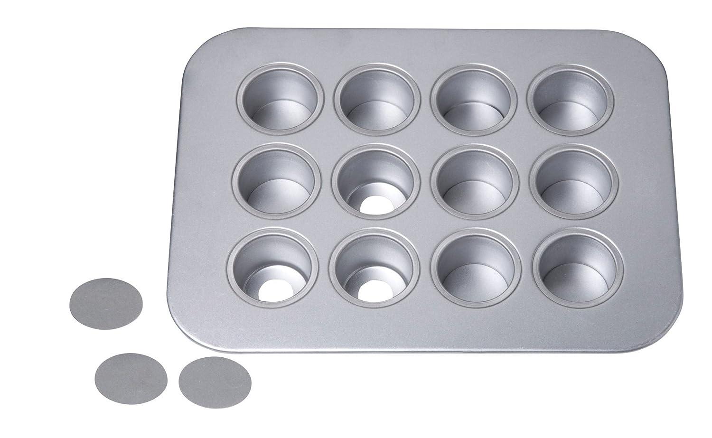 Kitchencraft Chicago II Comercial metálico Acero aluminizado 12-Cup Mini Cheesecake Lata con Bases Sueltas, 40 x 28 cm (15,5