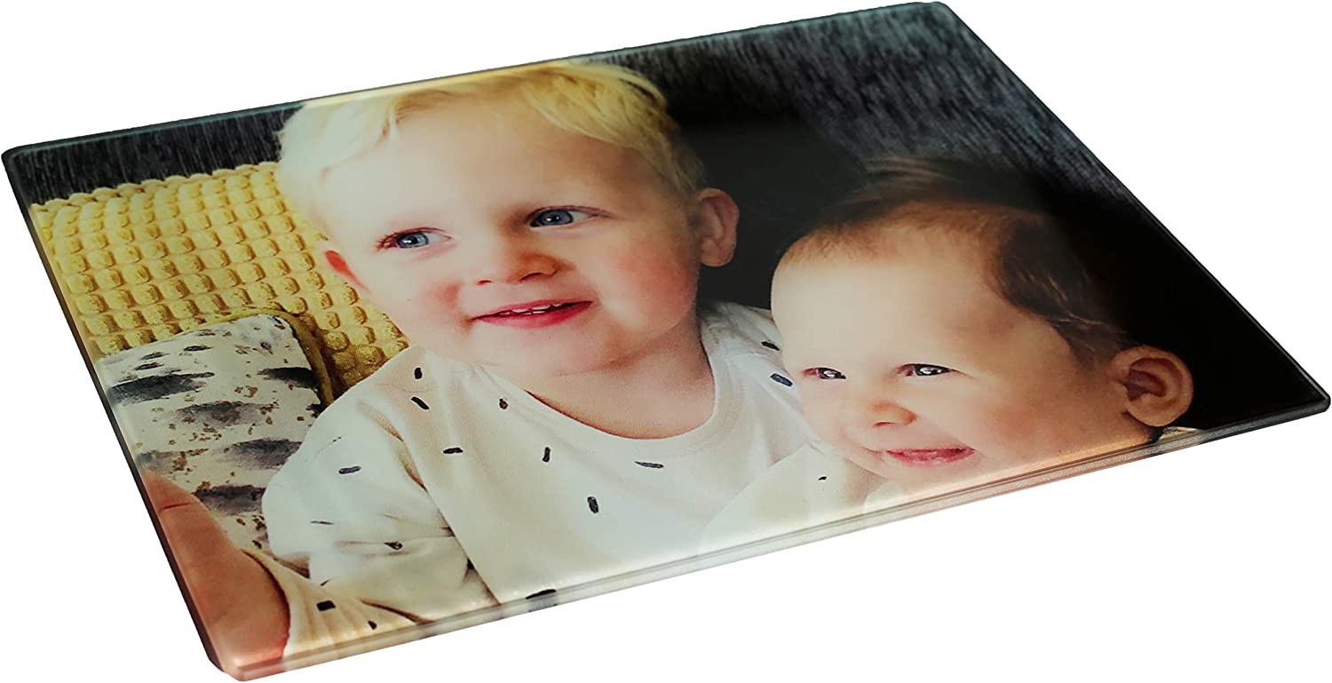 Hippowarehouse Personalised Photo Chopping Board Toughened Glass Cutting Kitchen Accessory Photograph Gift Customised