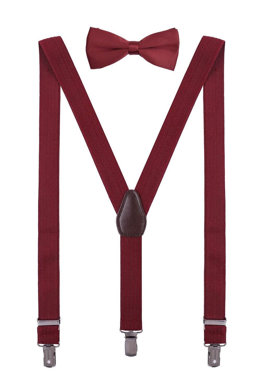 ORSKY Men's Bow Tie and Suspenders Set Adjustable Y Back 56'' Wine Red by ORSKY