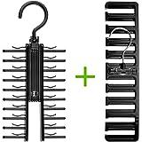 Bolford 1 Tie Rack and 1 Belt Hanger Set for Men, Necktie Holder fits 20 Ties and Belt Racks Holds 10 Belts. Perfect Hangers for a Closet Storage Organizer.
