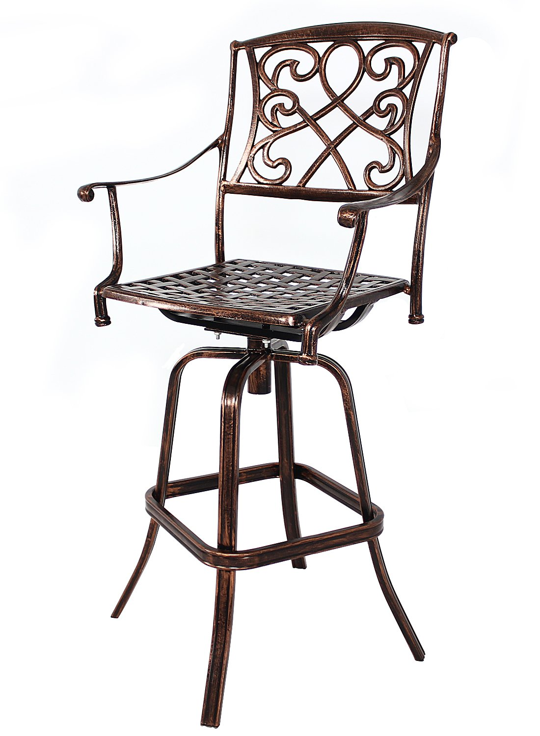 HOMEFUN Outdoor Swivel Bar Stools, Bar Height Chairs, Cast Aluminum Bistro Pub Patio Furniture (Antique Bronze)