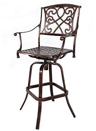 amazon com homefun outdoor swivel bar stools cast aluminum bistro