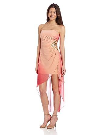2a5ade5a3e9 Amazon.com  Teeze Me Juniors Strapless Hi-Lo Dress