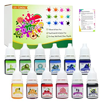 12 Color Bath Bomb Soap Dye - Skin Safe Bath Bomb Colorant Food Grade  Coloring for Soap Making Supplies, Natural Liquid Soap Colorant for DIY  Bath ...