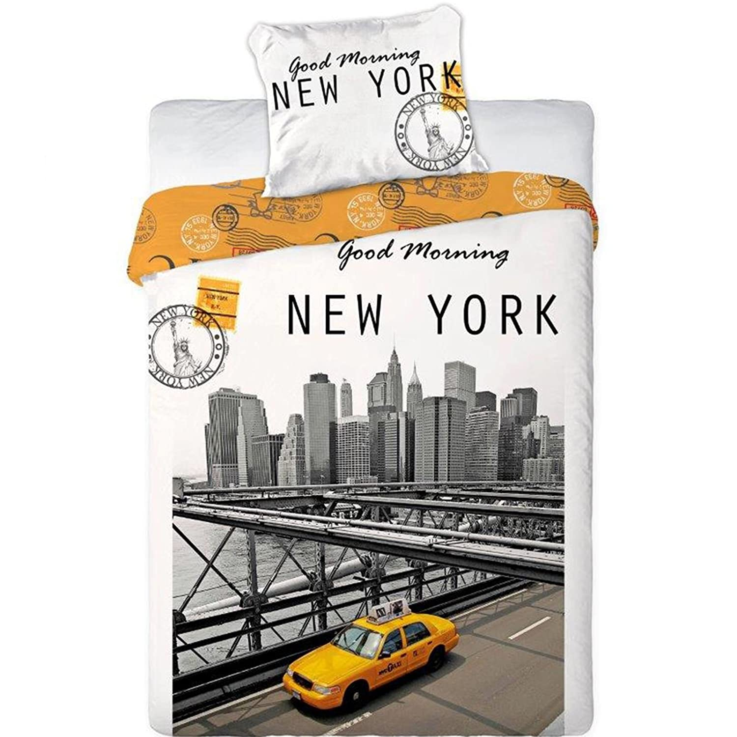 Good Morning New York Single Duvet Set 140 x 200cm / 70 x 90cm (New York City 01) Faro Textiles