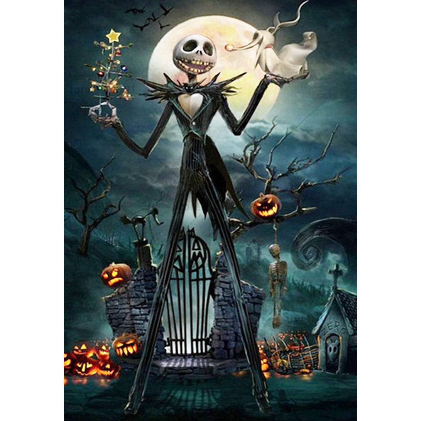 Halloween 5D DIY Diamond Painting Full Drill Round Resin Beads Pictures Skull of Crystals Diamond Dotz Kits,Arts, Crafts & Sewing Cross Stitch for Home Decor 12x16 30 x 40 cm Better Selection