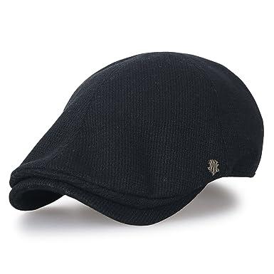 47e0ef3299e17 ililily Knitted Wool-Blend Gatsby Newsboy Hat Cabbie Hunting Flat Cap  (Large