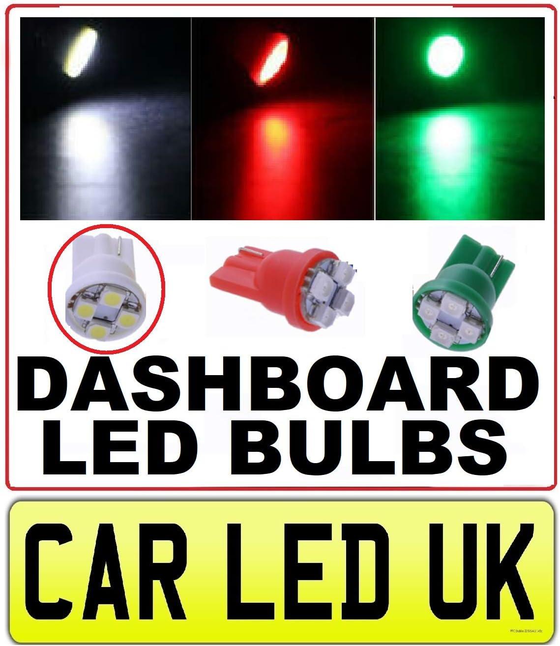 Car-LED UK Green 5 Pcs T10 168 194 501 W5W  LED INSTRUMENT PANEL DASHBOARD BULB  Upgrade to LED /& Enhance Your Dashboard