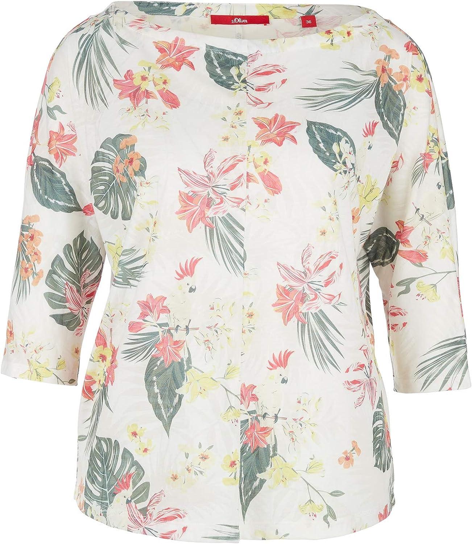 s.Oliver RED Label Damen Floral bedrucktes 3//4-Arm-Shirt