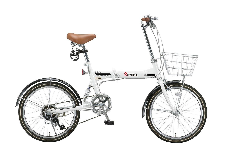 Raychell(レイチェル) 20インチ 折りたたみ 自転車 MSB-206R シマノ6段変速 リアサスペンション フロントライト付 [メーカー保証1年] B071JNRHQ2 ホワイト ホワイト