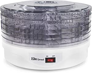 Elite Gourmet EFD-1010 135-Watt Food Dehydrator, 5 Stackable Transparent Trays, White