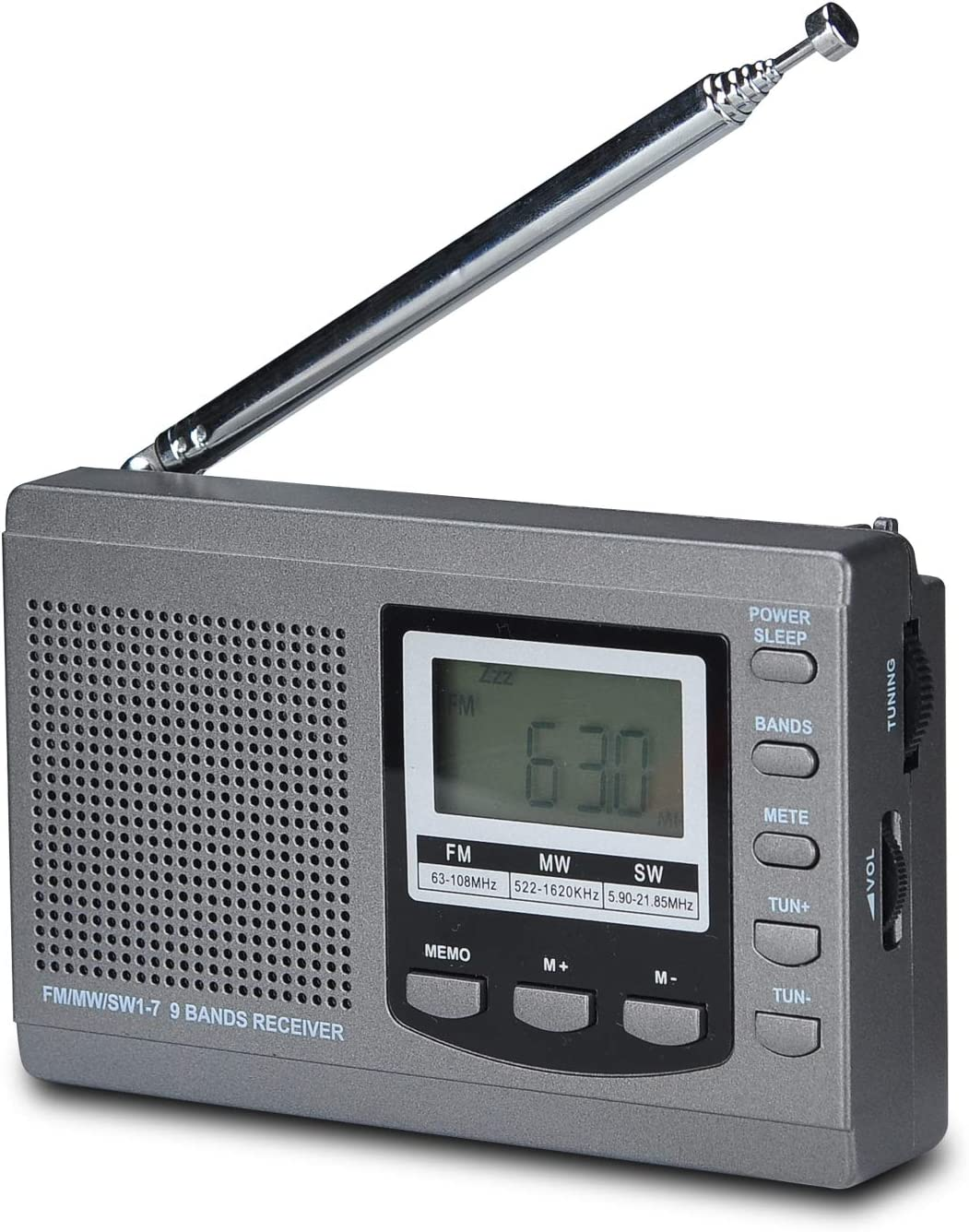 Songway Banda Completa Am/FM/SW DSP Radio Altavoz estéreo Pantalla LCD Reloj Despertador Temporizador de sueño Radio de Bolsillo Demodulación Digital La Mejor recepción con Antena telescópica (Grey): Amazon.es: Electrónica