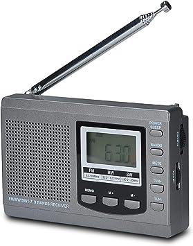 Songway Banda Completa Am/FM/SW DSP Radio Altavoz estéreo Pantalla LCD Reloj Despertador Temporizador de sueño Radio de Bolsillo Demodulación Digital ...
